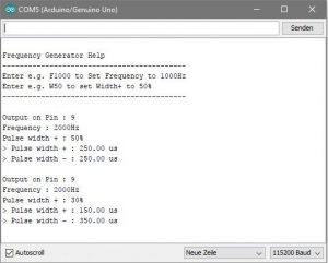 Ansicht des Serial-Monitors bei laufendem Frequenz Generator