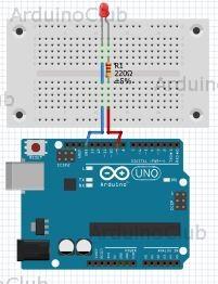 Arduino UNO mit Vorwiderstand und LED